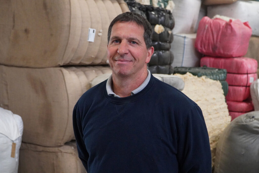Production department of Donegal Yarns. Gerard Gallagher, Wool Specialist.