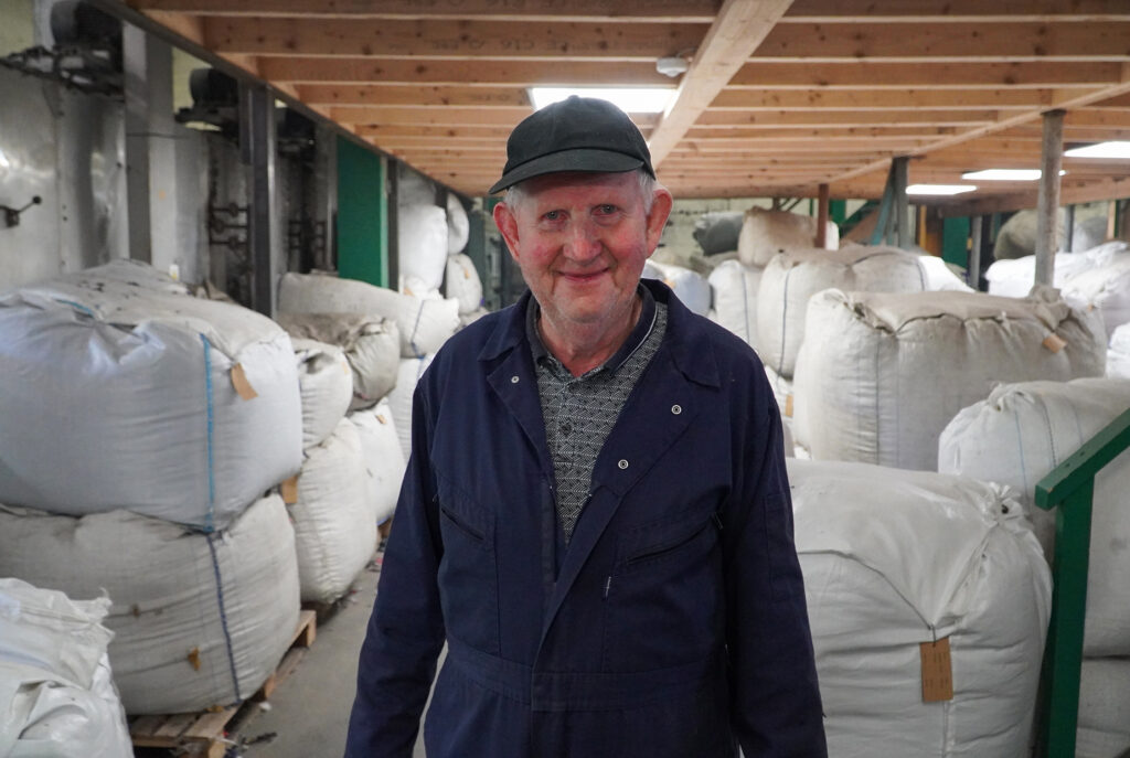 Production department of Donegal Yarns. Seamus Campbell, Wool Specialist.